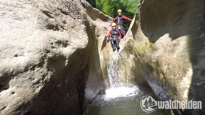Canyoning Starzlachklamm Zugang-Abschlussrutsche