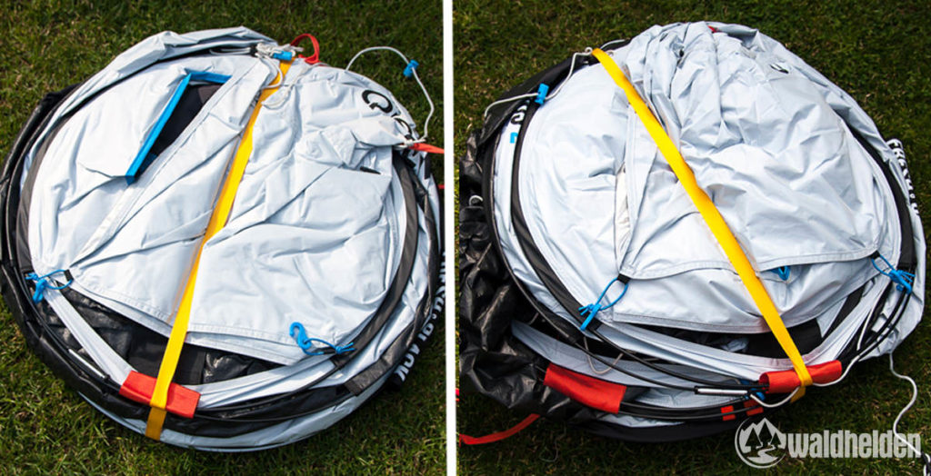 Zusammenbau des Quechua 2 Seconds Easy Fresh&Black Vorher - Nachher. Mit etwas Übung geht das sicherlich schöner und schneller.