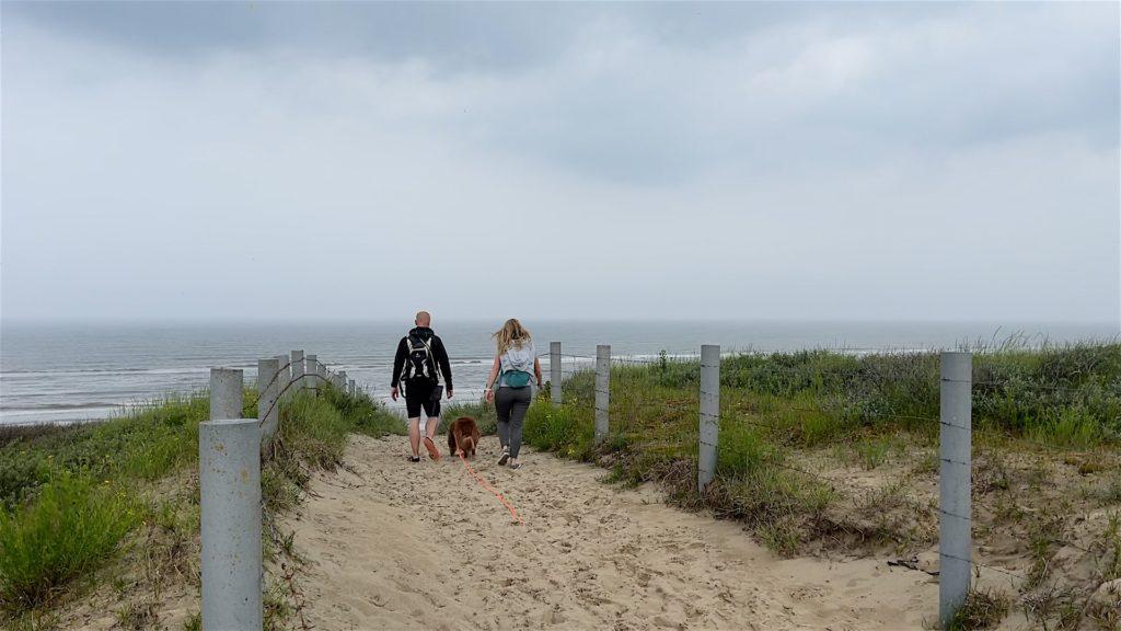 Hinter der Düne wartet der weite Strand auf uns. Heute leider nicht das allerbeste Strandwetter.